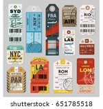 baggage tag set  checks or... | Shutterstock .eps vector #651785518
