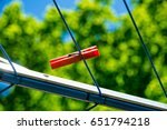 a little red clothespin is... | Shutterstock . vector #651794218