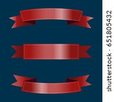 set of red ribbons on blue... | Shutterstock .eps vector #651805432