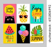 set of summer cards  posters ... | Shutterstock .eps vector #651806992
