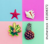 beach set. pineapple shells... | Shutterstock . vector #651808372