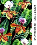 seamless floral pattern with... | Shutterstock . vector #651815305