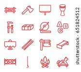 wood icons set. set of 16 wood... | Shutterstock .eps vector #651824512