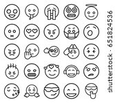 expression icons set. set of 25 ... | Shutterstock .eps vector #651824536