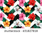 vector tropical leaves and... | Shutterstock .eps vector #651827818