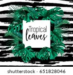 tropic leaves background with... | Shutterstock .eps vector #651828046