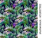 palm leaves seamless pattern | Shutterstock .eps vector #651837502