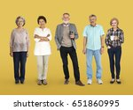 group of diverse senior adult... | Shutterstock . vector #651860995