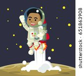 african looking male  astronaut ... | Shutterstock . vector #651863908