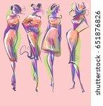 set vector  fashion stylish...   Shutterstock .eps vector #651876826