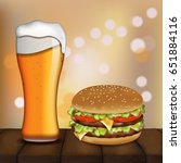 burger and beer. business lunch.... | Shutterstock .eps vector #651884116