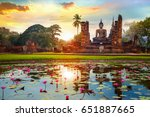 wat mahathat temple in the... | Shutterstock . vector #651887665