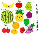 cute cartoon fruits vector...   Shutterstock .eps vector #651893965