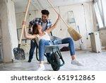 loving couple is having fun... | Shutterstock . vector #651912865