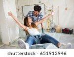 loving couple is having fun... | Shutterstock . vector #651912946