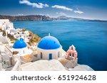 oia town on santorini island ... | Shutterstock . vector #651924628