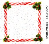 a peppermint frame and holly... | Shutterstock . vector #65193097