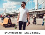 stylish man in sunglasses and... | Shutterstock . vector #651955582