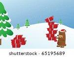 bear holding a gift | Shutterstock . vector #65195689