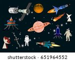space elements vector icons set | Shutterstock .eps vector #651964552