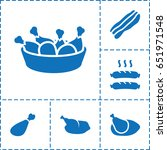 cooked icon. set of 6 cooked... | Shutterstock .eps vector #651971548