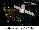 spacex dragon orbiting the... | Shutterstock . vector #651973078