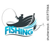 fisherman in a boat with a...   Shutterstock .eps vector #651975466