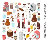 isometric bartender and coffee... | Shutterstock .eps vector #651984532