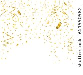 gold confetti and ribbon... | Shutterstock .eps vector #651990982