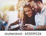 friends having fun outdoors and ... | Shutterstock . vector #652039126