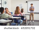 schoolboy giving presentation... | Shutterstock . vector #652051732