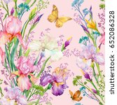 Stock photo seamless pattern irises flowers and yellow butterfly exotic print fabric wallpaper watercolor 652086328