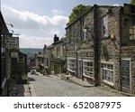 steep cobbled main street... | Shutterstock . vector #652087975