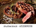 grilled beef steak with... | Shutterstock . vector #652089058