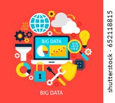 big data flat concept. poster... | Shutterstock .eps vector #652118815