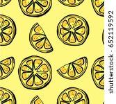 fresh lemon slices yellow... | Shutterstock .eps vector #652119592
