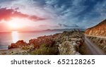 sunrise at the beach and...   Shutterstock . vector #652128265
