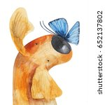 Red Dog With Blue Butterfly On...