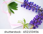 blue background  lilac lupine ...   Shutterstock . vector #652153456