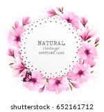 natural greeting card with pink ... | Shutterstock .eps vector #652161712