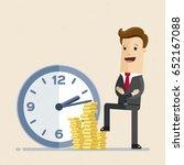 happy businessman stands next... | Shutterstock .eps vector #652167088