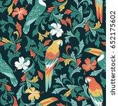 seamless tropical vector... | Shutterstock .eps vector #652175602