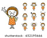 girls  set  variations | Shutterstock .eps vector #652195666