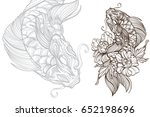 contour image of koi fish with... | Shutterstock .eps vector #652198696