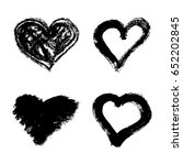 set of hand drawn grunge hearts ... | Shutterstock .eps vector #652202845