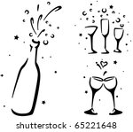 wedding stencil featuring wine... | Shutterstock .eps vector #65221648