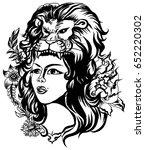 lion helmet with beautiful girl ... | Shutterstock .eps vector #652220302