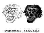 hand drawn lion head and... | Shutterstock .eps vector #652225366