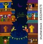 muslim families wishing eid... | Shutterstock .eps vector #652244575