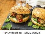 vegan burgers with chickpeas... | Shutterstock . vector #652260526